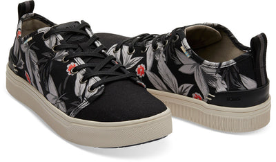 Black Floral Print Men's TRVL LITE Low Sneakers