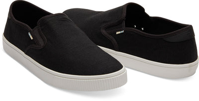 Black Heritage Canvas Mens Baja Slip-Ons