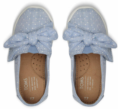 Light Bliss Blue Speckled Chambray Dots Bow Tiny Toms Classics