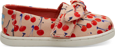 Coral Pink Cherry Print Bow Tiny Toms Classics