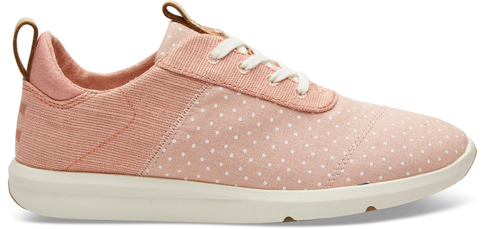 Coral Pink Printed Dots With Heritage Canvas Women's Cabrillo Sneakers