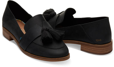 Black Leather With Tassel Women's Estel Loafers