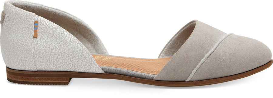 05e73f284db Drizzle Grey Suede With Crackle Leather Women's Jutti D'orsay Flats