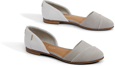 Drizzle Grey Suede With Crackle Leather Women's Jutti D'orsay Flats