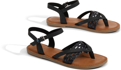Black Leather with Braid Strap Women's Lexie Sandals