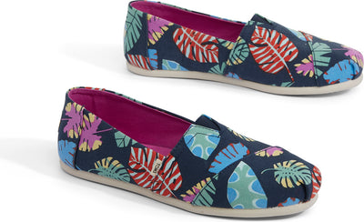 Navy Tropical Leaves Women's Alpargatas