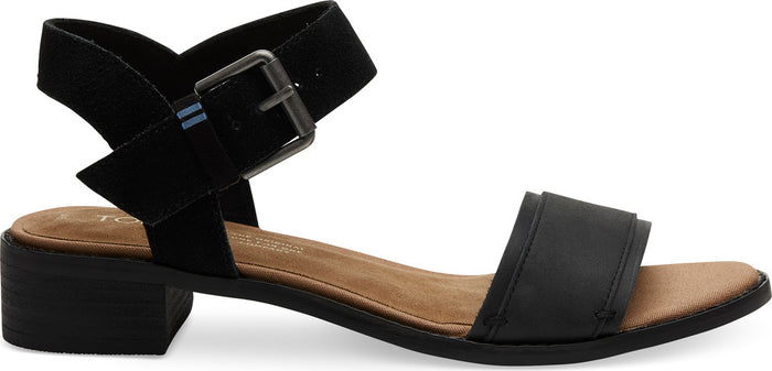 Black Leather Suede Women's Camilia Sandal