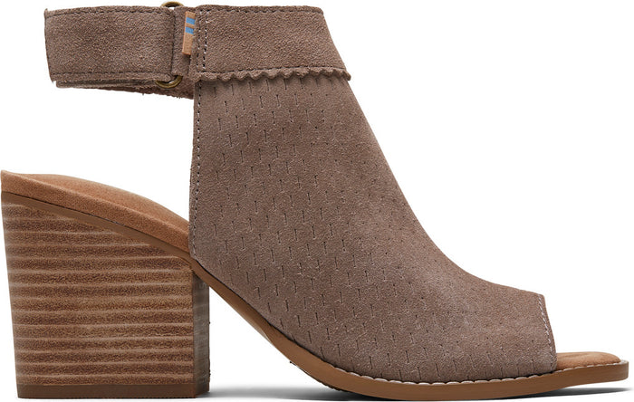 Taupe Grey Suede Perforated Women's