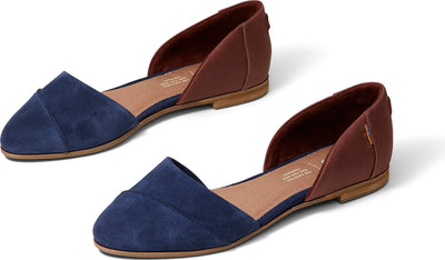 Navy Penny Brown Suede And Leather Women's Jutti D'orsay Flats