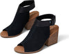 Black Suede Women's Grenada Stacked Heel Sandals