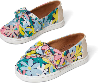 Multi Giant Flowers Print Bow Tiny TOMS Alpargata