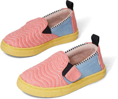 Ballet Pink Wavy Quilted Microsuede Tiny Luca Slip-Ons
