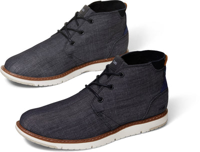 Black Crosshatch Denim Mens Navi Boot
