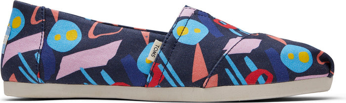 Navy Canvas Mid Century Print Canvas Women's Classics Ft. Ortholite