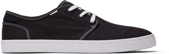 Black Contrast Stitch Canvas Mens Carlo Sneaker
