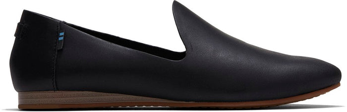 Black Vegetable Tanned Leather Women's Darcy Flat