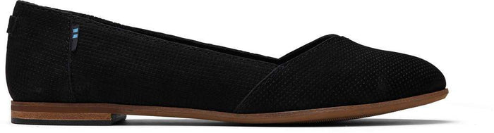 Black Suede Perforated Womens Julie Flat