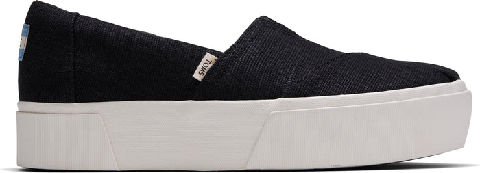 Black Heritage Canvas Women's Platform Slip On