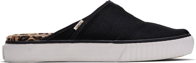 Black Canvas w. lepoard trim Women's Indio Mule