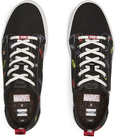Black Marvel Logos Printed Men's Trvl Lite Low Sneakers