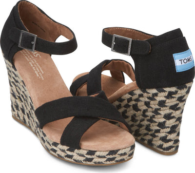 Black Mixed Rope Women's Strappy Wedge