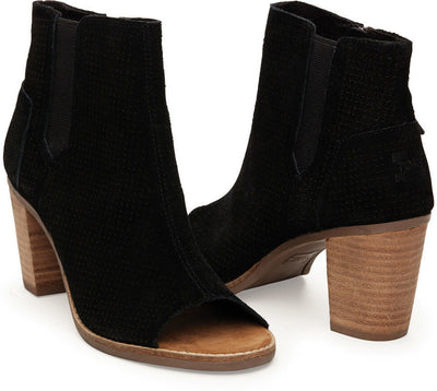 Black Suede Perforated Women's Majorca Peep Toe Bootie