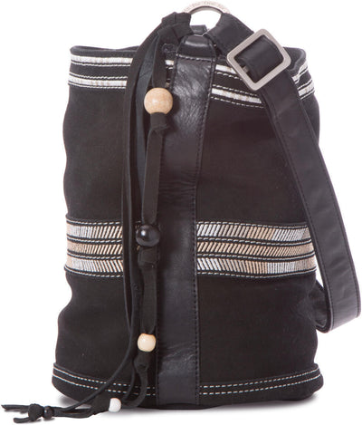 Black Suede Mix Bucket Bag