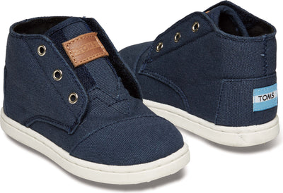 Navy Canvas Tiny TOMS Paseo Mid Sneaker