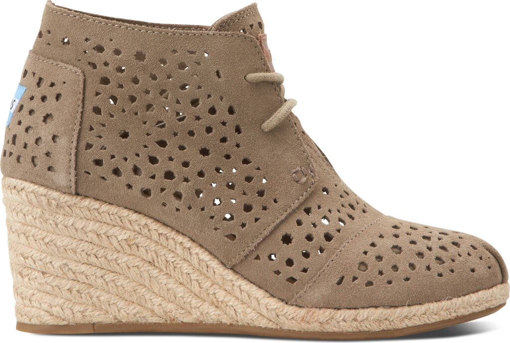 7e861788f60 Taupe Moroccan Cutout Suede Women s Desert Wedge