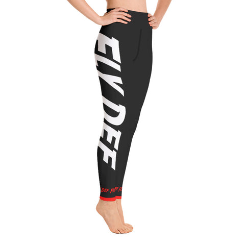 Tech Print Big FLYDEF logo High Waisted Leggings