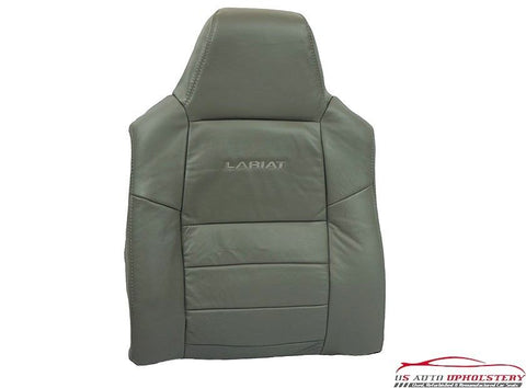 02-03 Ford F250 Lariat Driver Side Lean Back Replacement Leather Seat Cover Gray - usautoupholstery