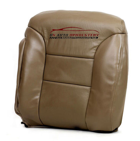1995-1999 Chevy Silverado Driver Lean Back Leather Seat Cover Med Neutral Tan - usautoupholstery