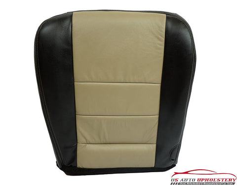 2008 Ford Excursion EDDIE BAUER Leather Driver Bottom Seat Cover - Black & Tan - usautoupholstery