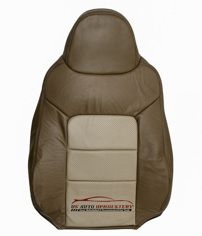 2003-2006 Ford Expedition Driver Side Lean Back Leather Seat Cover 2 Tone Tan - usautoupholstery
