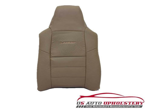 02 03 F250 4X4 Lariat 7.3L Diesel -Driver Side LEAN BACK Leather Seat Cover Tan- - usautoupholstery