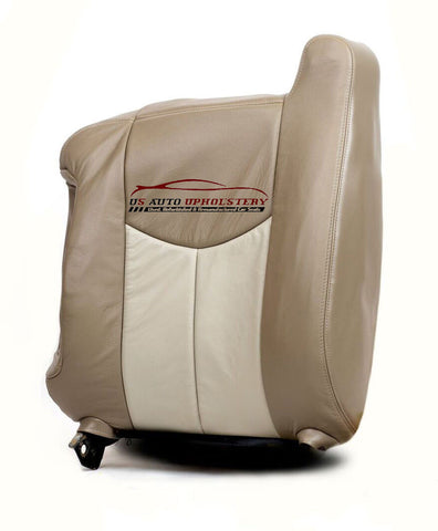 2003-2007 GMC Sierra 1500 Denali Driver Lean Back Leather Seat Cover 2 Tone Tan - usautoupholstery