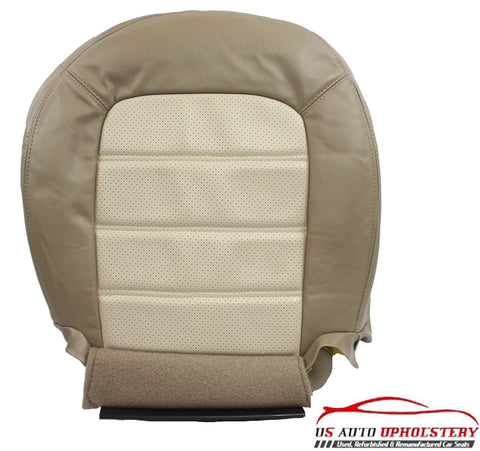 02-05 Ford Explorer PERFORATED Driver Bottom Leather Seat Cover - 2 tone tan - usautoupholstery