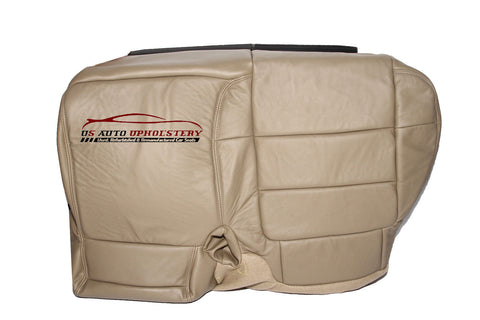 01 Ford F250 F350 Lariat Passenger Side Bench Bottom Leather Seat Cover Tan - usautoupholstery