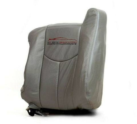 03 Chevy Avalanche 2500 4X4 8.1L Driver Lean Back Leather Seat Cover Pewter Gray - usautoupholstery