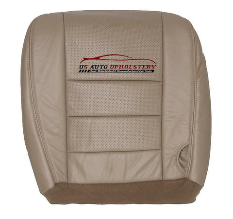 2002-2007 Ford F250 F350 Lariat Driver Bottom Perforated Leather Seat Cover TAN - usautoupholstery