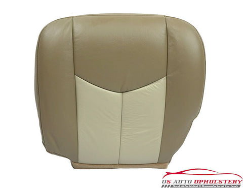 03-06 GMC Sierra Denali Quadrasteer Driver Bottom 2-TONE LEATHER Seat Cover TAN- - usautoupholstery
