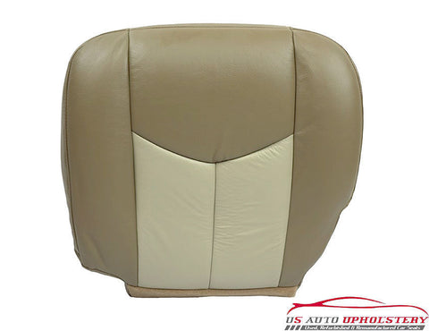 2003, 04, 05, 2006 GMC Sierra Denali Driver Bottom Leather Seat Cover 2-TONE TAN - usautoupholstery