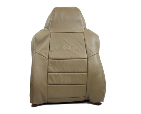2005 Ford Excursion Driver Side LEAN BACK Limited Logo - LEATHER Seat Cover Tan - usautoupholstery