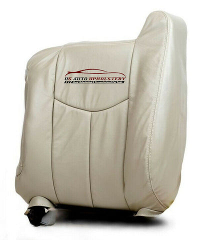 2005 Chevy Tahoe LT LS Z71 Driver LEAN BACK Leather Replacement Seat Cover Shale - usautoupholstery