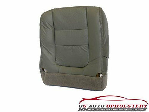 2000 2001 Ford F350 Lariat PERFORATED Leather Driver Bottom Seat Cover - Gray - usautoupholstery