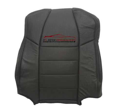 03 Ford F350 Lariat Driver perforated LEAN BACK Leather Seat Cover Black - usautoupholstery