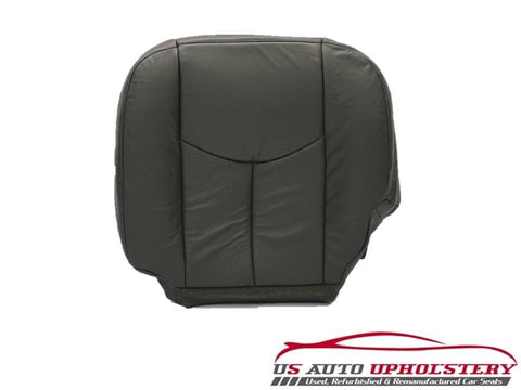 03 04 Chevy Silverado 3500 LT-DRIVER Side Bottom LEATHER Seat Cover Dark Gray - usautoupholstery
