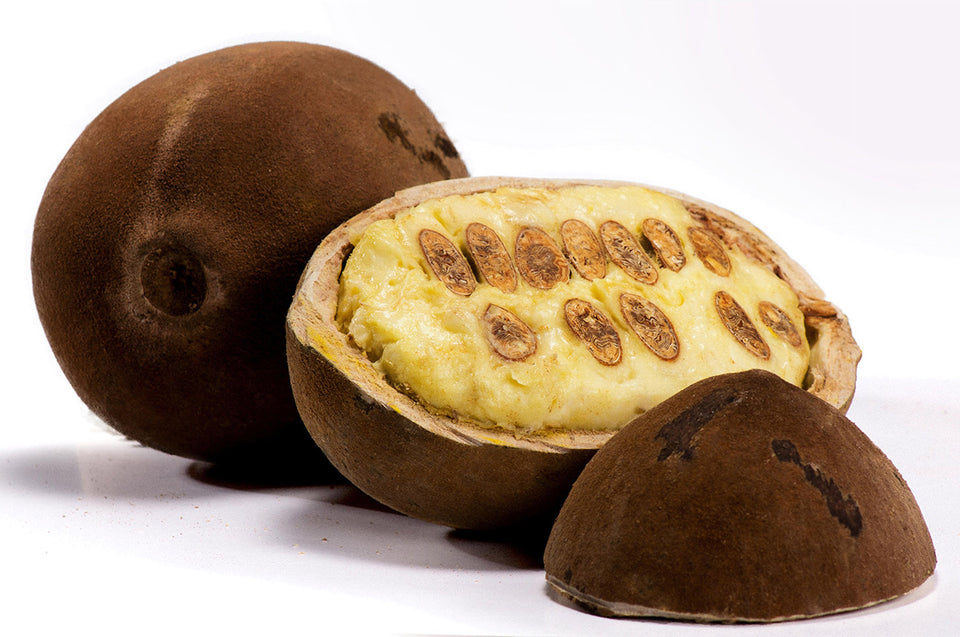A Cupuacu fruit. The natural 'butter' is obtained from the centre.