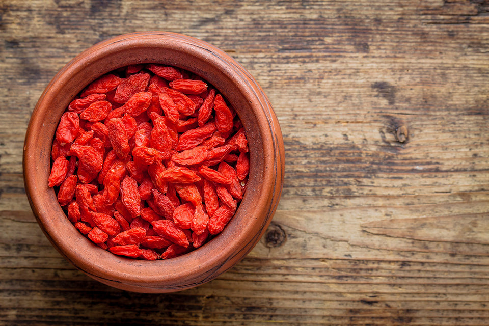 Bowl full of red goji berries
