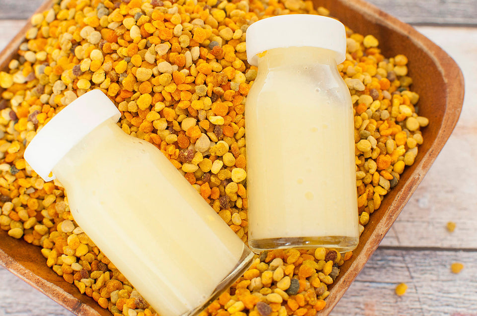 Royal Jelly in small glass bottles; used in bee yü natural skincare